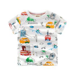 Maillots de filles en Ligne-2018 Été Nouvel Enfant Garçons Filles T-shirt Coton Enfants de Bande Dessinée Full print Car Tops Enfants maillot de corps Bébé T-shirt à Manches Courtes