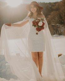 Spitze über knie brautkleid online-Über dem Knie kurze Spitze Brautkleider Spaghetti-Träger Liebsten bescheidenen Brautkleider mit Kaftan Arabisch Brautkleider