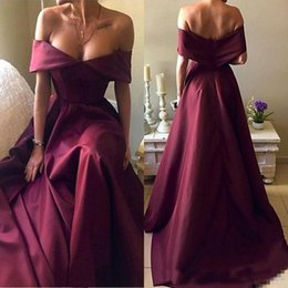 Wholesale Beaded Off White Elegant Shirts - Burgundy Prom Dresses 2018 Elegant Off Shoulders A Line Evening Gowns Plus Size Celebrity Pageant Party Wears Custom Made Cheap
