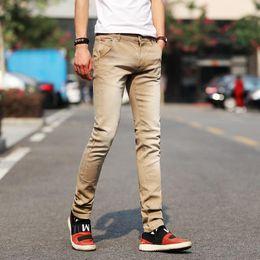 helle jeans für männer Rabatt New Fashion Herren Jeans Light Color Stretch Jeans Lässige Straight Slim Fit Multicolor Röhrenjeans Herren Cotton Denim Zipper Fly Hose
