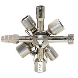 Enchufes online-10 en 1 mini llave universal cruzada llaves del fontanero herramienta de servicio llave multifuncional llave del zócalo para gabinetes del metro eléctrico de gas