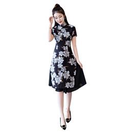 Encaje vietnamita online-Historia de Shanghai Short negro Vietnam ao dai Vestido tradicional chino de encaje Vestido cheongsam chino nacional Negro aodai vietnamita
