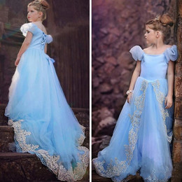 tulle flower puffs Promo Codes - 2019 Light Sky Blue Princess Flower Girls Dresses For Weddings Off The Shoulder Appliques Tulle Puff Sleeves Corset Girls Pageant Dresses