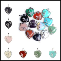 Wholesale Natural Stone Jewelry Opal - 32*35mm Quartz Natural Stone Pendants 15 Colors Jasper Healing Necklace Acce Alloy Heart Shaped Crystal Choker Jewelry Charms