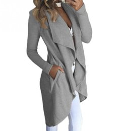Wholesale Lined Coats Women - Womens Ladies Long Sleeve Long Line Collared Duster Coat Jacket Top