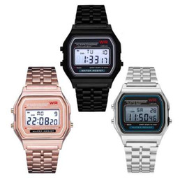СВЕТОДИОДНЫЕ цифровые часы Ремешок Из Нержавеющей Стали Сигнализация Наручные Часы Ультра Тонкие Женщины Бизнес Для Детей Дети Мужчины Мальчики Спортивные часы Путешествия ПОДАРКИ от