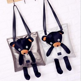 Wholesale Bear Bag - Pu Leather Bear Doll Tote Bag Clutch Shoulder Bag Girl Handbag Plush Bear Women Casual Crossbody Bag OOA3851