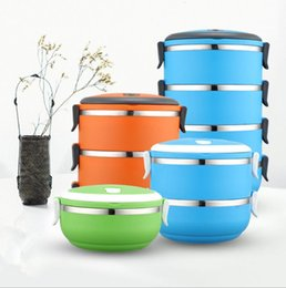 Wholesale Stainless Steel Storage Boxes - Lunch Box Bento Picnic Storage Mess Tin Food Jar Multilayer Stainless Steel For Students Children Outdoor Camping lunch bag HHA5
