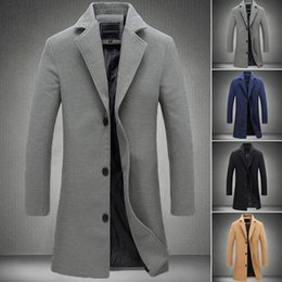 2018 New Fashion Men Coats prendas de vestir exteriores de negocios de longitud media manga larga capa de auto reparación de lana desde fabricantes