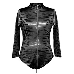 Wholesale dressing latex catsuit - Women's Sexy Faux Leather Catsuit Costumes Exotic Latex Teddies with Front Zip For Clubwear Stripper Party Fancy Dress