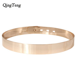 Wholesale Sashes Rings - Women Punk Full Metal Mirror Skinny Waist Belt Metallic Gold Plate Wide Chains Lady Sash For Dress Skirt Ring Belt Vestido Strap