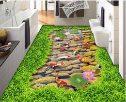 Wholesale Grass Carp - nature scenery wall paper Grass stream brook carp lotus 3D stereo painting floor floor tile painting photo wallpaper nature