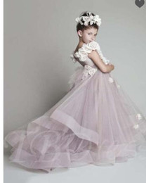 gold blue flower brooches Canada - Organza Flowers Off-The-Shoulder Long Flower Girls Dress