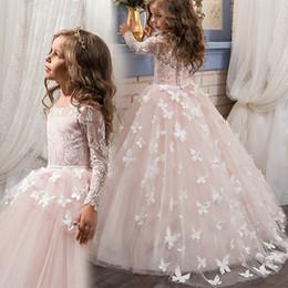 Wholesale First Diamonds - Costume Applique Flower Girl Dresses for Wedding Sequined evening dress Princess Dress diamonds Vintage Kids ball gown First Communion Dress