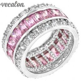 pietre aaaaa cz Sconti X Vecalon Anello gioielli moda donna AAAAA Pietra zircone pietra rosa Cz Argento 925 fidanzamento femminile Anello fascia nuziale
