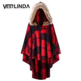 Wholesale Hooded Womens Trench Coat - VESTLINDA Plus Size Plaid Trench Coat High Low Hooded Cloak New Year Winter Coat Women Hooded Capes Coats Womens Outerwear 5XL