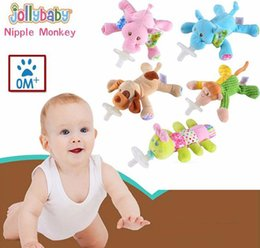 Wholesale Baby Toys Products - Wholesale- Jollybaby Baby Comforter Toys Cute Cartoon Animal Plush Soother Silicone Pacifiers Baby Feeding Products