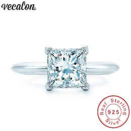 Wholesale princess cut cz engagement ring - Vecalon Handmade 100% Real 925 Sterling Silver ring Princess cut 1ct Sona 5A Zircon Cz Engagement wedding Band rings for women