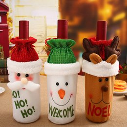 Wholesale Home Decoration Images - Free shipping Red Wine Bottle Cover Bags Decoration Home Party Santa Claus Christmas Santa Claus Snowman elk image
