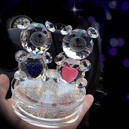 ornamenti di vetro di vetro Sconti Moda Orso in cristallo Figurine con strass Base in vetro Coppia orsetto per regalo di nozze Novel Ornamento DEC124