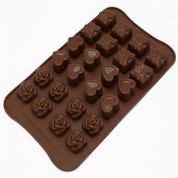 Wholesale Wholesale Box Heart Chocolate - Wholesale- DIY 24 Cups Rose Loving Heart And Gift Box Shape Silicone Chocolate Moulds Jelly Pudding Molds Handmade Soap Molds Baking Tool