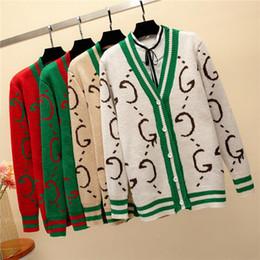 2019 sottile giacca di maglione delle signore Cardigan lavorato a maglia di lusso del progettista delle donne del nuovo di alta qualità Primavera Autunno femminile stampa elegante tuta sportiva del maglione Top Coat