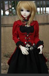personalizzare bambole Sconti Cosplay Vestito rosso uniforme nero per 1/4 MSD, 1/3 SD10, SD13, SD16, DD Grande ragazza BJD Doll Abiti super dollfie PERSONALIZZATI CW22