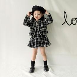 Mädchen gitter kleid online-Baby Kleidung Kinder Kleidung Sets New Autumn Fashion Baby Mädchen Grid Coat + Kleid 2 Stücke Set Elegante Weihnachten Prinzessin Kleid Set Für Kinder 0-5 T