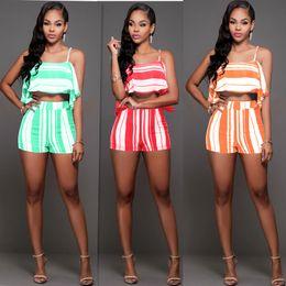 Wholesale Dress Women Pants Sets - Summer Fleet Striped Sling Two Piece Set Women Rompers Pants Fashion Butterfly Sleeveless Tops Tees Women Two Piece Suits Bodycon Sets