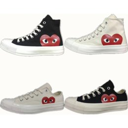 Wholesale play canvas - 1970s Classic Canvas Shoes Original CDG Play Jointly Big Eyes Name High Top Fashion Casual Sneakers Eur: 35-44