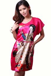 Patrones impresos rosa roja online-2016 New Stlye Women Nightwear Impreso Nueva llegada rodilla-longitud Rose Red camisón de seda, moda verano niña patrón dormir