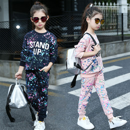 Wholesale suits teenager - Spring Girl Clothing Sets Letter T-shirts+ Graffiti Pants Children Clothes Set 5-11 Years Kids Sports Suit Teenagers Tracksuit