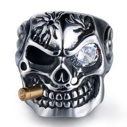 Wholesale gold 18k ruby ring - Free Shipping! men European and American domineering diamond skull titanium steel ring fashion cross Ruby titanium steel ring