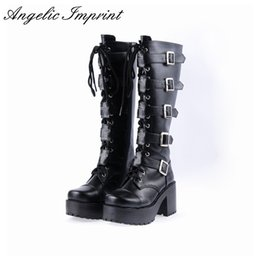 Wholesale Boots Platform Chunky Heel White - Japanese Harajuku Platform Chunky Heel Cosplay Boots Women Black Leather Buckle Straps Lace Up Gothic Punk High Boots