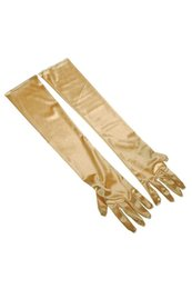 Wholesale wholesale evening gloves - 22inch Women's Long Satin Elbow Gloves Evening Party-gold silver