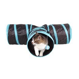 Geformte zelte online-Heißer Verkauf Faltbare 3 Löcher Plane Katzen Tunnel Spielzeug Lustige T Form Faltbare Spielzeug Katze Tunnel Zelt Nest Spielzeug