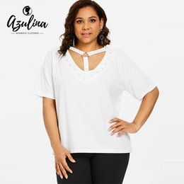 AZULINA Plus Size Strappy O-Ring Cut Out T-Shirt Sexy Plunging Neck Short  Sleeve White T Shirt Women Tops Summer Ladies Clothes cf9abc407