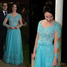 Wholesale Winter Soiree Dresses - 2018 Long Sleeve Mother Of The Bride Dresses Appliques Beaded Blue Lace Robe De Soiree Button Back Formal Evening Dresses Gowns