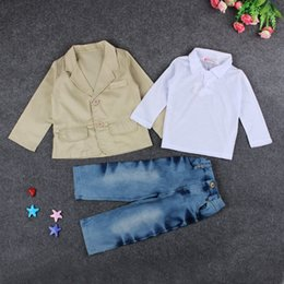 Wholesale Jacket Jeans Kids Boy - 1-7T Boys gentleman outfits 3pc sets khaki suit jacket+white long sleeve T shirt+jeans kids fashion casual clothing suits