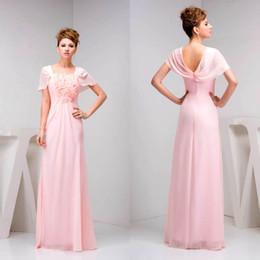 cb1bba6fed Vestidos de dama de honor románticos dulces rosados Mangas de casquillo de  la longitud del piso Manoplas de honor Vestidos de ceremonia de país Vestido  de ...