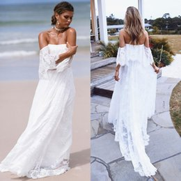 Wholesale Classy Wedding Dresses Sleeves - Classy 2018 Bohemian Beach Wedding Dresses Backless Off The Shoulder Boho Full Lace Appliqued A Line Bridal Gowns vestido de novia