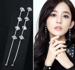 Wholesale Rhombus Earrings - Fashion Womens 925 Sterling Silver Zircon Crystal Rhombus Tassel Long Ear Stud Earrings
