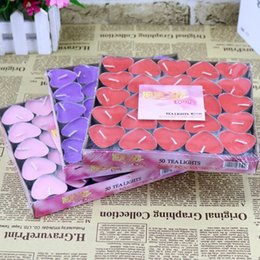 Wholesale Tea Candle Favors - 50pcs package Candle Favors Heart-shaped aromatherapy candles to propose romantic and creative Smokeless wedding products tea wax