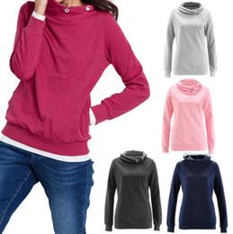 Wholesale ladies gray sweater - Women Long Sleeve Hooded Hoodies Solid Color Pullover Coat Sweatshirt Ladies Jumper Sweater Pocket Tops 5 Colors OOA4059