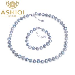 e0754f99319d ASHIQI Gary Baroque Conjuntos de joyas de perlas naturales Real Negro  Collar de perlas de agua dulce Pulsera para mujer Nueva llegada