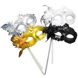 máscaras de mascarada con plumas palos Rebajas Máscara Sexy Masquerade Clearbridal Women On Stick con pluma MJ025