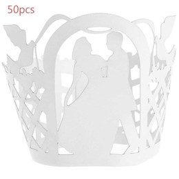 Wholesale Wholesale Laser Cut Cupcake Wrappers - Wholesale-50pcs Paper Lace Cup Cake Wrapper Table Decor Wedding Birthday VINE Beautiful Laser Cut Cupcake Wrappers for Decoration