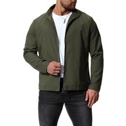 5456cb82828 2018 осень новый сплошной цвет куртка Европа и Америка большой размер  мужская воротник пальто цвет черный   армия зеленый   вино красный кофе  кофе цвет ...