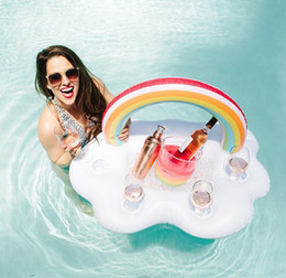 Discount cup holder food tray - Rainbow Cloud Cup Holder Ice Bucket With 4 Hold Inflatable Mattress Table Bar Tray Pool Party Beer Drink Food Float Party Toy OOA4916