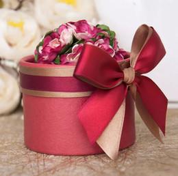 envoltura de dulces de boda gratis Rebajas Envío gratis por el ccsme de lujo de la flor europea de estilo cilíndrico Diamond Crystal Wedding Candy caja de la caja con la cinta de seda envuelve el regalo